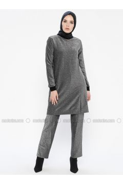 Gray - Silver tone - Unlined - Cotton - Suit - MY MOOD(110339643)
