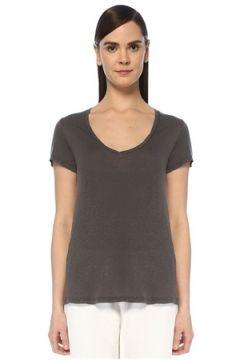 American Vintage Kadın Kobibay Antrasit V Yaka Basic T-shirt Gri M EU(109265181)