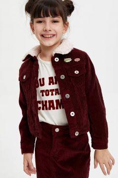 DeFacto Kız Çocuk İçi Suni Kürk Detaylı Kadife Ceket(125915435)