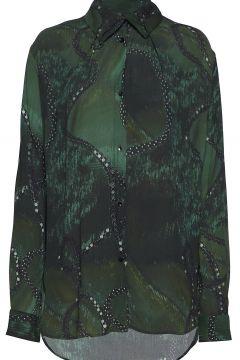Folded Collar Blouse Bluse Langärmlig Grün DIANA ORVING(114151068)
