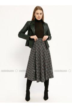 Green - Plaid - Unlined - Skirt - Kaktüs(110319065)