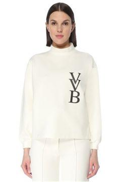Victoria by Beckham Kadın Beyaz Dik Yaka Logo Detaylı Sweatshirt S EU(127641562)