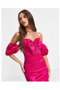Rare London - Vestito corto taffetà con fiocco rosa-Viola(122747705)