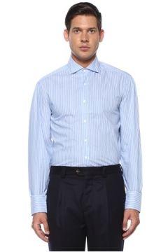 Brunello Cucinelli Erkek Mavi Beyaz Modern Yaka Çizgili Gömlek XXL EU(119423171)