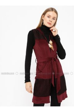 Purple - Unlined - V neck Collar - Vest - Le Mirage(110338985)