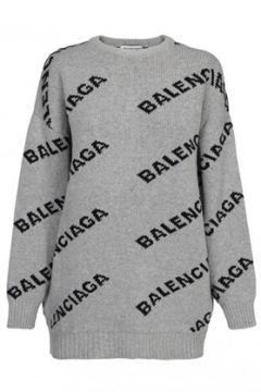 Balenciaga Kadın Gri Siyah Logo Jakarlı Düşük Kol Kazak XS EU(114439112)