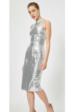 Koton Kadın Pullu Kolsuz Halter Yaka Slim Fit Midi Elbise(118020886)