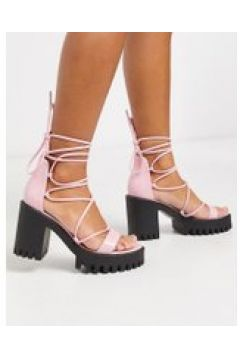 Public Desire - Roxanne - Sandali con tacco largo e plateau con suola a carrarmato allacciati alla gamba rosa(120298034)