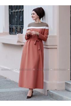 Terra Cotta - Crew neck - Unlined - Dresses - Gamze Özkul(110335091)