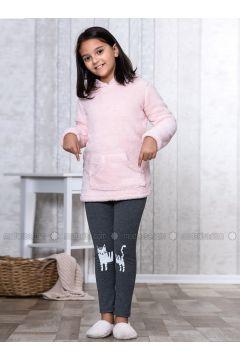 Pink - Crew neck - Multi - Kids Pijamas - Lingabooms(110313124)