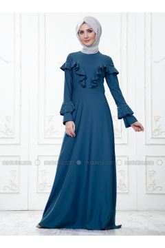 Blue - Crew neck - Unlined - Dresses - SomFashion(110329277)