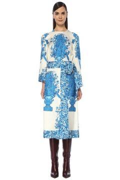 Valentino Kadın Beyaz Mavi Karışık Desenli Midi İpek Elbise 40 IT(118374778)