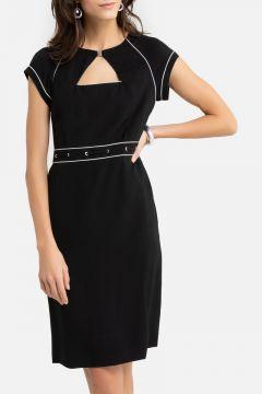 Vestido recto de manga corta, sarga stretch(108523081)