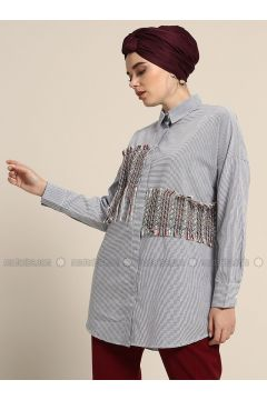 Blue - Navy Blue - Stripe - Point Collar - Cotton - Blouses - Refka(110314653)