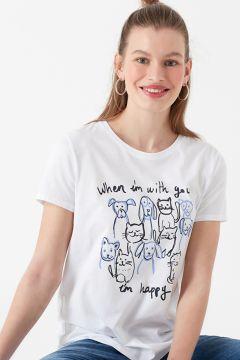 Mavi Kedi Köpek Baskılı Penye Beyaz T-Shirt(126399247)