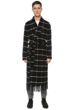 Dolce&Gabbana Erkek Siyah Şal Yaka Kareli Kruvaze Yün Palto Gri 46 IT(123205232)