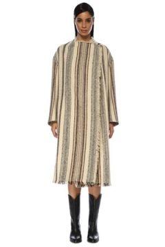 Etoile Isabel Marant Kadın Ekru Çizgili Püskül Detaylı Kruvaze Palto Bej 34 FR(119423223)