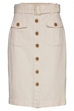 Heritage Cotton-Linen Safari Skirt Knielanges Kleid Creme BANANA REPUBLIC(116470503)