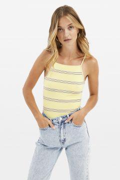 Gelbes Crop Top mit Streifen(111106060)