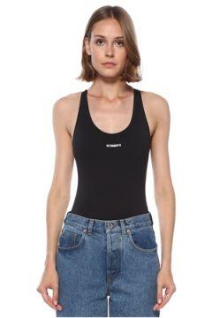 Vetements Kadın Siyah Logolu Sırt Detaylı Body S EU(122583465)