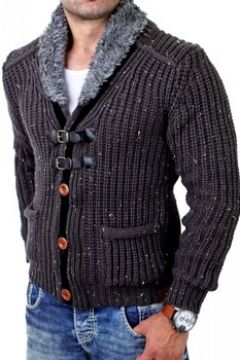 Gilet Monsieurmode Cardigan veste pour homme Veste T418 gris fonce(115398316)