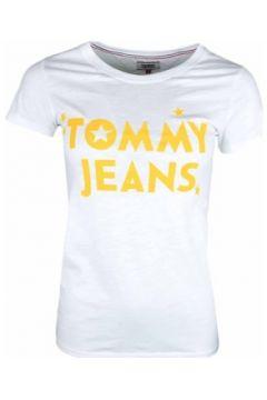 T-shirt Tommy Jeans T-shirt col rond blanc inscription jaune pour femme(115399707)