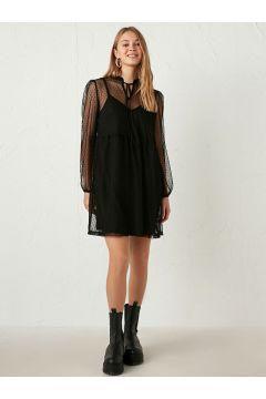 Kadın Uzun Kollu Tül Elbise(126123010)