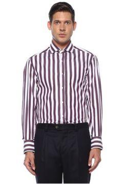 Brunello Cucinelli Erkek Bordo Beyaz Modern Yaka Çizgili Gömlek L EU(119423189)