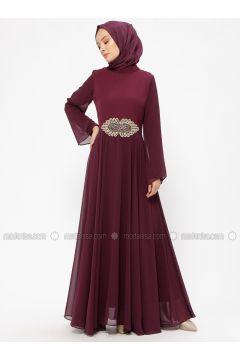 Plum - Unlined - Crew neck - Muslim Evening Dress - BÜRÜN(110313624)