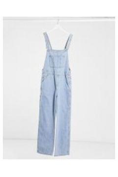 ASOS DESIGN - Salopette di jeans larga stone wash chiaro-Blu(120964782)
