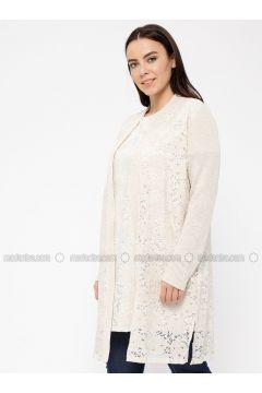 Beige - Floral - Viscose - Cardigan - Minimal Moda(110331344)