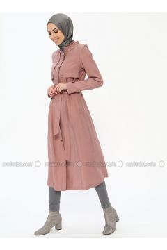 Dusty Rose - Unlined - Crew neck - Viscose - Topcoat - Butik Neşe(110335605)