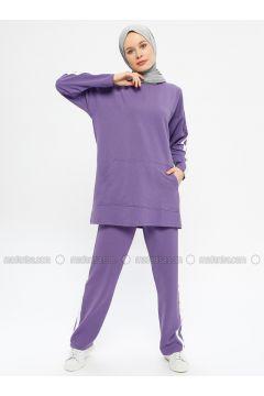 Purple - Cotton - Crew neck - Tracksuit Set - Hatun Atila(110332291)