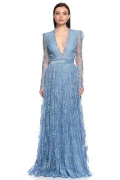 Alexander McQueen-Alexander McQueen Dantel İşlemeli Mavi Uzun Gece Elbisesi(115704987)