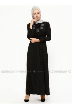 Black - V neck Collar - Unlined - Dresses - SUEM(110315276)
