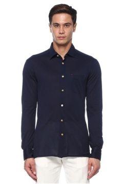 Kiton Erkek Lacivert İngiliz Yaka Gömlek 42 IT(118214567)
