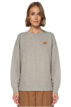 Kenzo Kadın Gri Bisiklet Yaka Logolu Sweatshirt S EU(121299463)