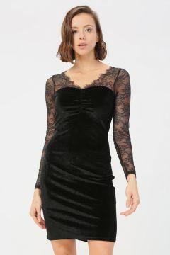 Only Siyah Dantel Detaylı Elbise(124925039)