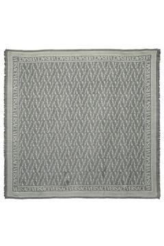Versace Kadın Gri Logo Jakarlı İpek Şal EU(121159604)