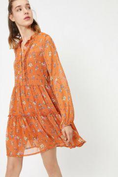 Koton Kadın Çiçek Desenli Dügme Detayli Mini Elbise(118171580)