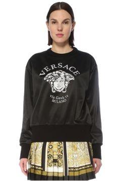 Versace Kadın Siyah Logo Detaylı Sweatshirt 42 IT(127770432)