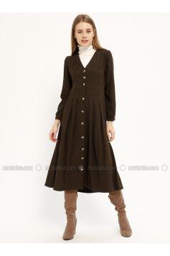 Khaki - V neck Collar - Unlined - Dresses - Kaktüs(110319052)