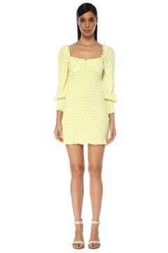 Faithfull The Brand Kadın Gombardy Sarı Çiçekli Balon Kol Mini Elbise L EU(119279962)