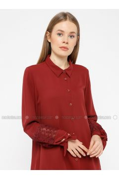 Maroon - Point Collar - Blouses - REPP(110339056)