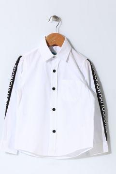 Funky Rocks Erkek Çocuk Yazı Detaylı Beyaz Gömlek(113960236)