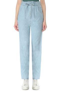 Etoile Isabel Marant Kadın Muardo Beli Bağcıklı Denim Pantolon Mavi 34 FR(127641526)