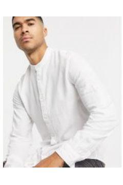 Bershka - Camicia di lino con collo serafino bianca-Bianco(120274482)