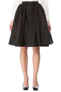 Prada Kadın Siyah Beli Logo Detaylı Mini Etek 42 IT(127770259)