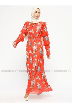 Coral - Floral - Crew neck - Fully Lined - Dresses - MARKESRA(110314800)