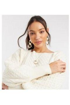 Fashion Union Tall - Maglione con scollo squadrato a trecce con maniche a palloncino-Crema(122748819)